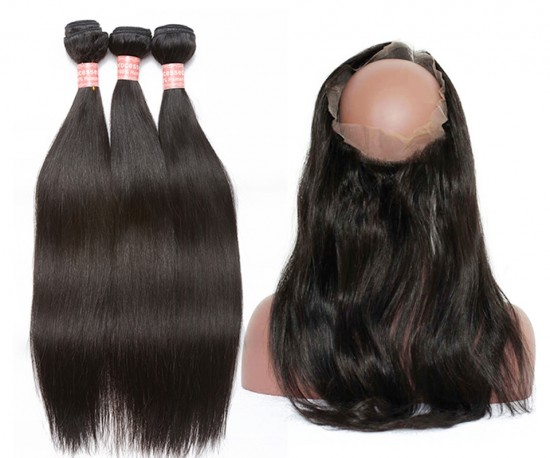 Dolago Brazilian Virgin Hair Yaki Straight 360 Lace Frontal With 3 Bundles Natural Color