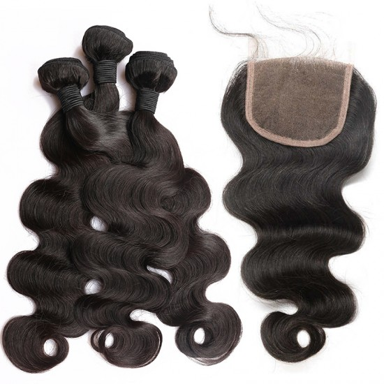 Dolago Brazilian Body Wave Lace Closure with 3 Bundles Natural Color 100% Human Hair