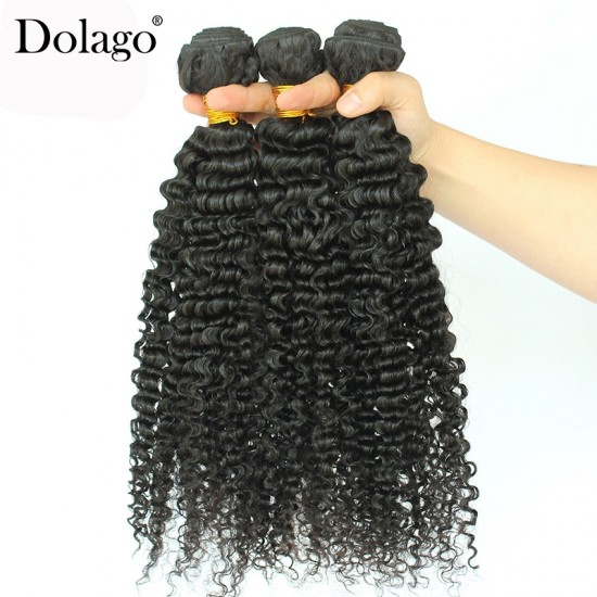 Dolago Brazilian Remy Human Hair Bundles 3B 3C Kinky Curly Human Hair Extensions 10 -30 Inches Curly Human Hair Weaves 3Pics Brazilian Bundles Sales