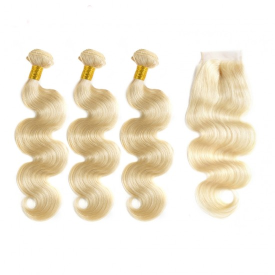 Dolago Brazilian Body Wave Lace Closure with 3 Bundles 100% Human Hair Weave #613 Blonde Color