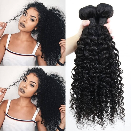 Dolago Brazilian Remy Human Hair Extensions Deep Curly Wave 3Pics Brazilian Human Hair Weave Bundles Sale 10-30 Inches Brazilian Bundles Natural Color Can Be Dyed And Bleached