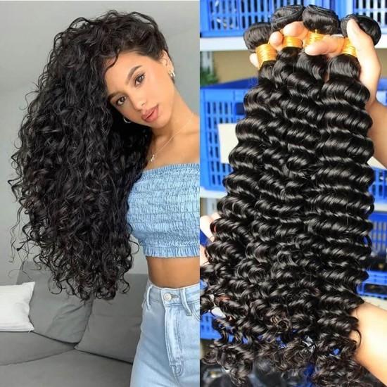 Dolago Brazilian Virgin Hair Bundles Deep Curly Wave Human Hair Extensions 3 Pics Brazilian Human Hair Weave Bundles Sale Natural Color Brazilian Bundles 10-30 Inches