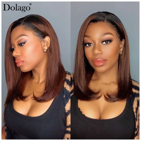 good quality ombre color short lace front human hair bob