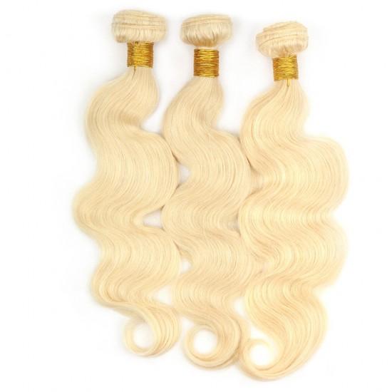 Dolago Brazilian Body Wave Human Hair Weave Bundles 3 Pcs 613 Blonde Color