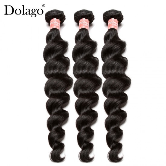 Dolago Peruvian Remy Human Hair Weave Bundles For Sale 3Pieces Peruvian Loose Wave Human Hair Extensions 10-30 Inches Peruvian Hair Bundles