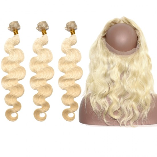Dolago 360 Lace Frontal Closure with 3 Bundles Body Wave 613 Blonde Color