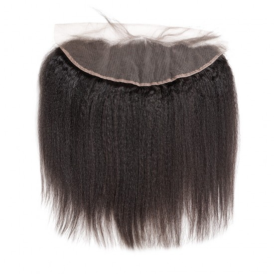 Dolago Pre Plucked Kinky Straight 13x4 Ear to Ear lace frontal Bleached Knots