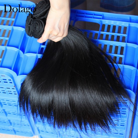Dolago European Remy Human Hair Bundles Straight Human Hair Weaves Natural Color 3Pics Human Hair Extensions 10-30 Inches Bundles Sales