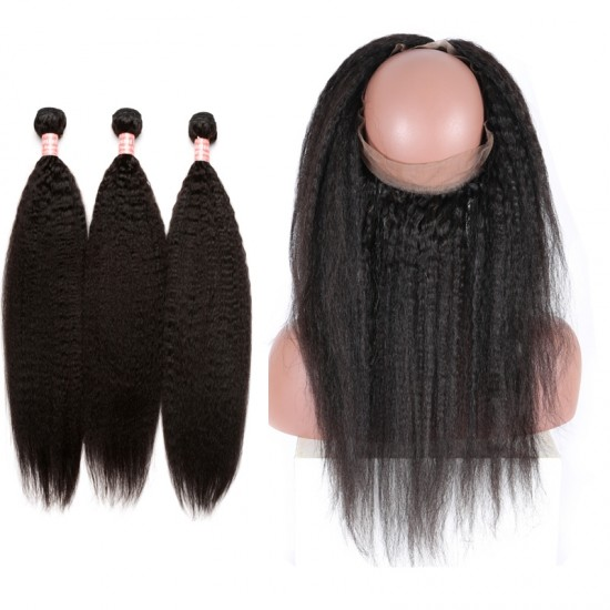 Dolago 360 Lace Frontal Closure With Bundle Kinky Straight Natural Color