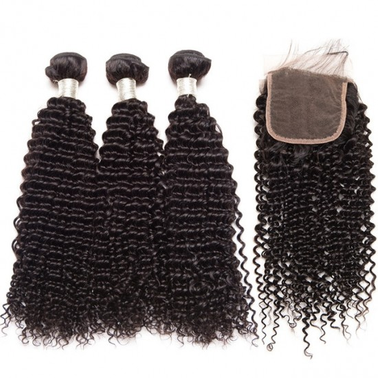 Dolago Human Hair Lace Closure with 3 Bundles Brazilian Kinky Curly Virgin Human Hair