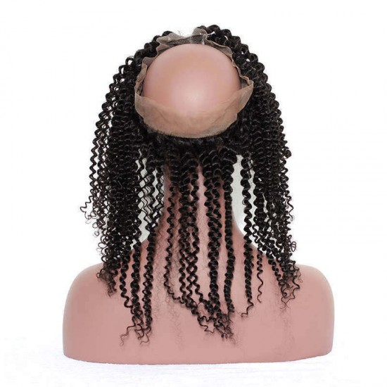 Dolago Pre Plucked Kinky Curly 360 Lace Frontal Closure With Baby Hair