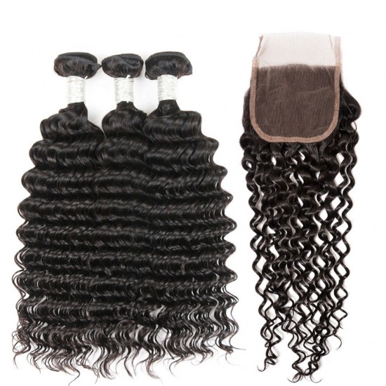 Dolago Free Part Lace Frontal Closure With 3 Bundles Brazilian Virgin Hair Deep Wave