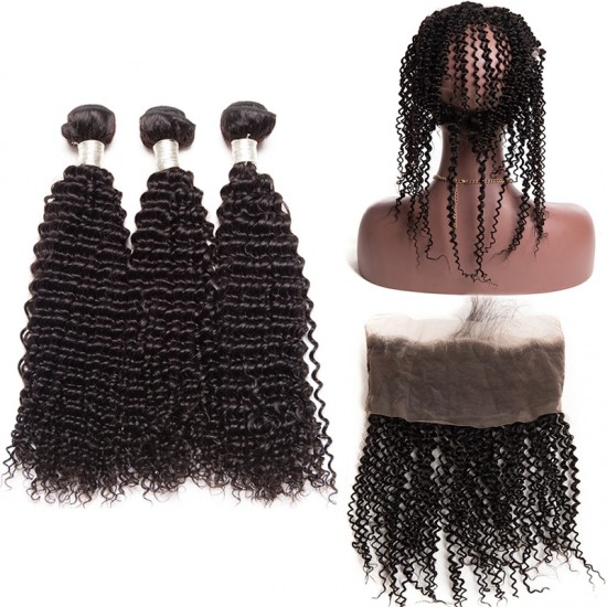 Dolago Brazilian Virgin Hair Kinky Curly 360 Lace Frontal With 3 Bundles