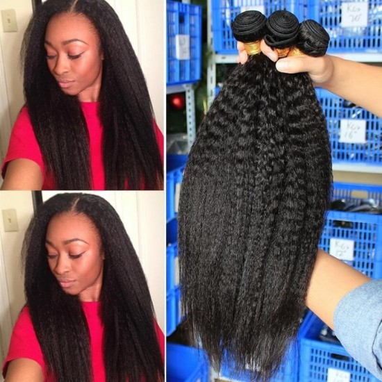Dolago Hair ExtensionsKinky Straight Hair Brazilian Virgin Hair Weave Bundles Coarse Yaki 100% Human Hair Bundles 3 Pcs