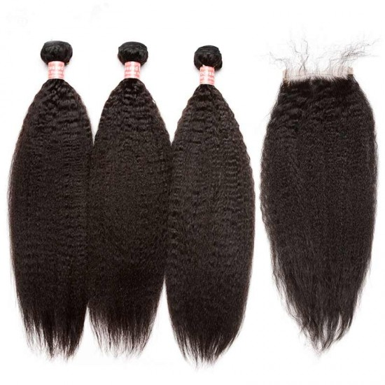 Dolago Kinky Straight Lace Closure with 3 Bundles Natural Color 100% Human Hair Weaves