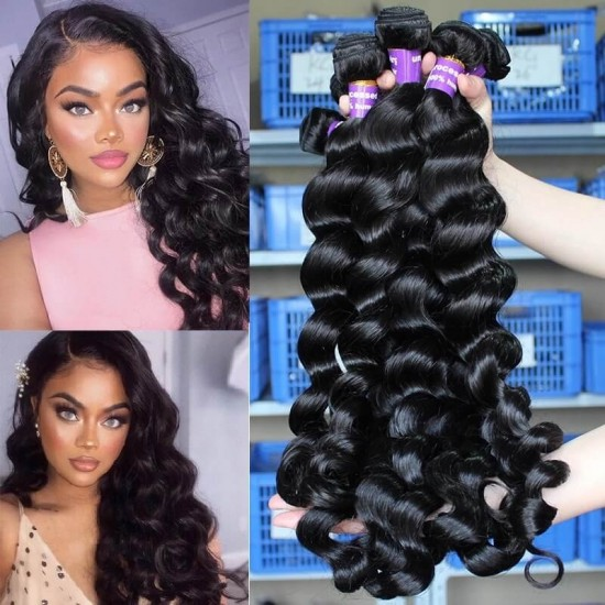 Dolago Brazilian Remy Human Hair Weave Bundles For Sale 3Pieces Brazilian Loose Wave Human Hair Extensions 10-30 Inches Brazilian Hair Bundles