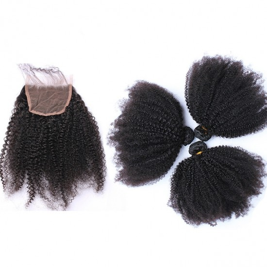 Dolago Afro Kinky Curly Lace Closure with 3 Bundles 100% Human Hair Bundles with Closure