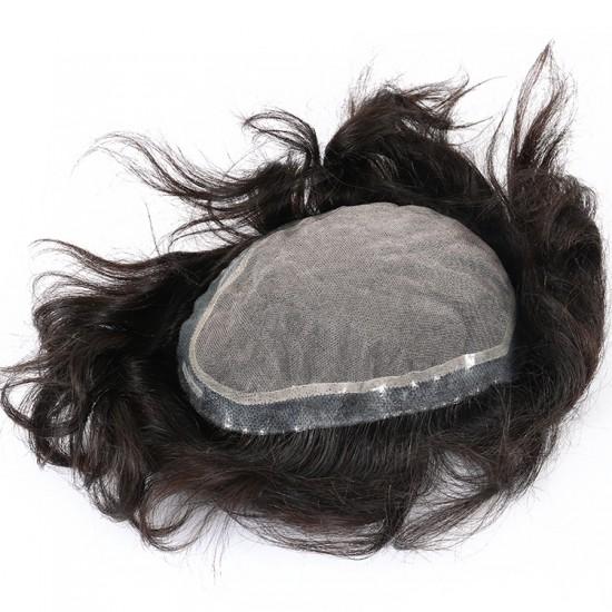 Dolago 100% Human Hair Natural Hairline Men Toupee Hair Replacement Hair
