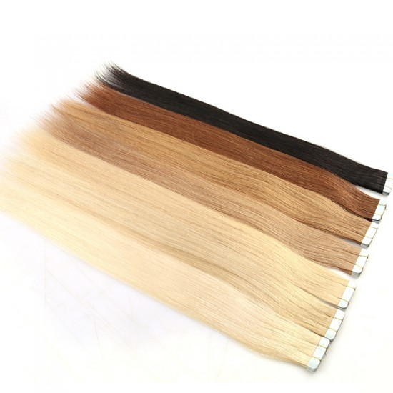 Dolago Double Drawn Russian Human Hair Invisible Remy Cuticle Tape Hair Extensions