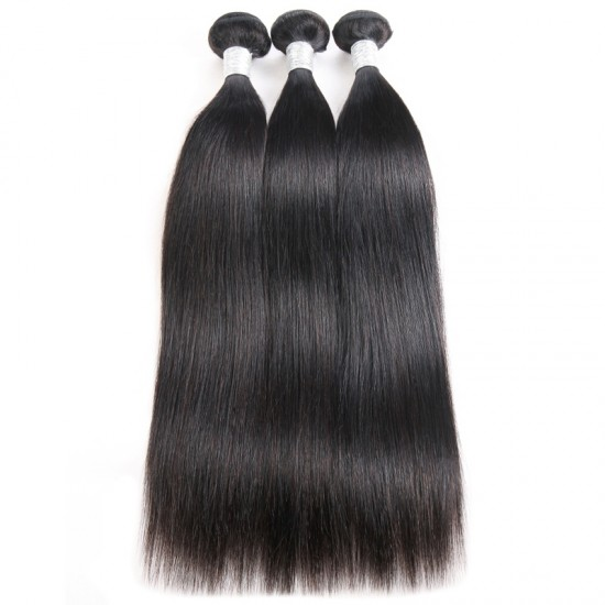 Dolago 100% Brazilian Human Hair Weave Bundles Straight 3Pcs Natural Black