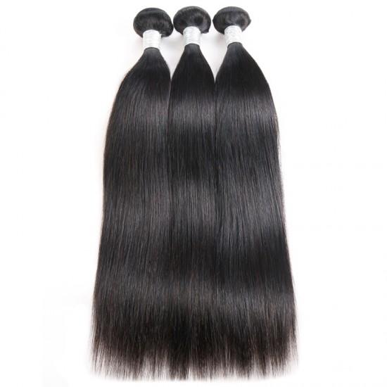 Dolago 100% Brazilian Human Hair Weave Bundles Straight 3Pcs Natural Black