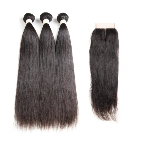 Dolago Brazilian Straight Human Hair Closure with 3 Bundles Natural Color