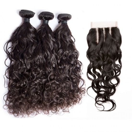 Dolago Water Wave Lace Frontal Closure with Bundles 4Pcs Lot Human Hair Weaves with Closure