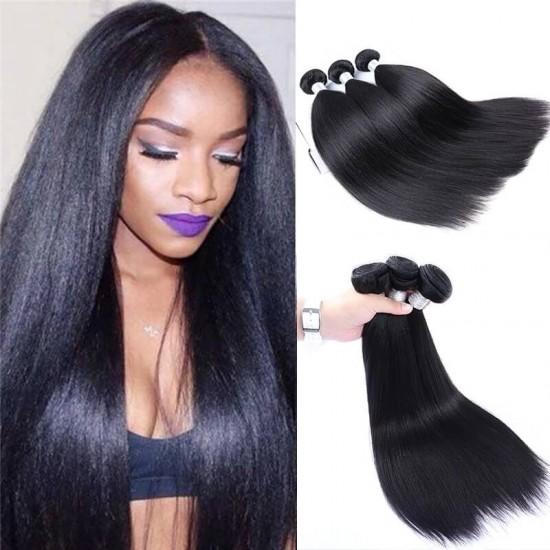 Dolago Brazilian Remy straight human hair bundles Natural Color 3Pics 10-30 Inches brazilian straight hair bundles for sale
