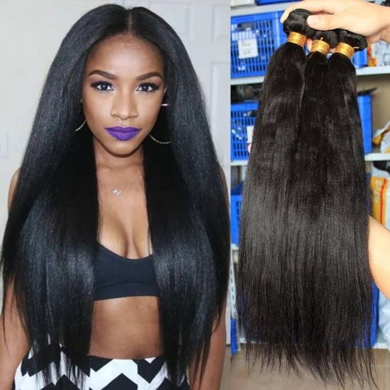 Doalgo Straight Wave Brazilian Virgin Hair Bundles Sale 3Pics Natural Color Human Hair Weaves 10-30 Inches Brazilian Human Hair Extensions