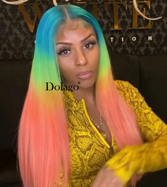 Dolago Colorful Wig 13X4 Lace Front Human Hair Wigs Rainbow Colored Straight Lace Frontal Wig Brazilian Transparent 3 Tone Color