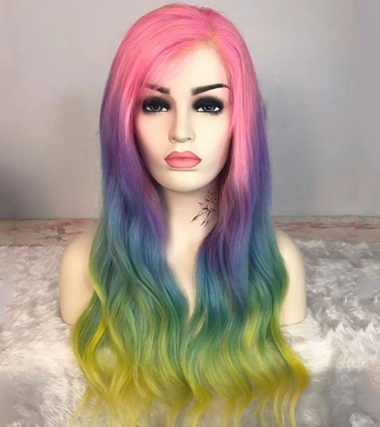 Dolago Colorful Wig Rainbow Colored Straight Lace Frontal Wig Brazilian Transparent 3 Tone Color With 130% Density Pre Plucked With Baby Hair