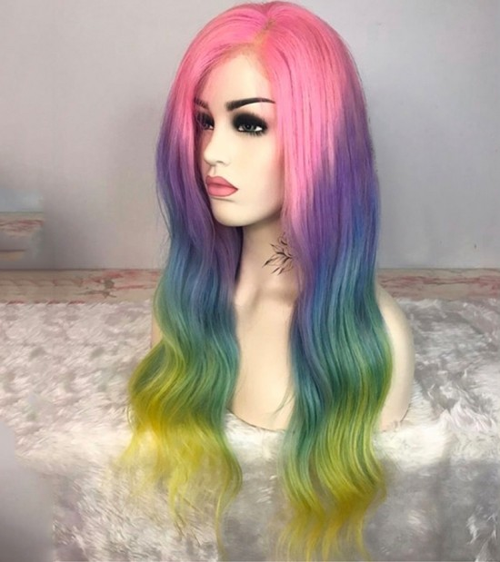 Dolago Colorful Wig Ombre Full Lace Human Hair Wigs Body Wave And Straight Lace Frontal Wig Brazilian HD Transparent Lace Wig