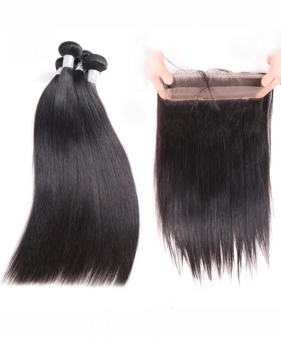 Dolago Brazilian Virgin Hair Yaki Straight 360 Lace Frontal With 2 Bundles