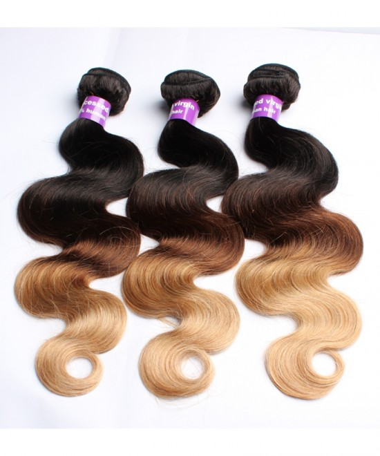 Dolago Ombre Hair Bundles Peruvian Body Wave T1B/4/27 3 Tone Remy Hair Weaves Machine Double Weft 3 Bundle