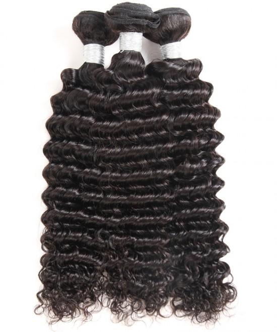 Dolago Brazilian Hair Weave Bundles Deep Wave 3 Pcs Brazilian Virgin Hair Extensions