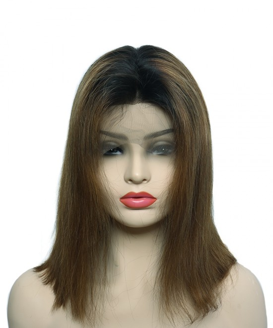 Dolago Colorful Wig Straight Bob Wig Full Lace Human Hair Wig 130% Density 1B/6# Shot Bob Colorful Human Hair Wigs For Women With Baby Hair 100% Quality Hair Wigs