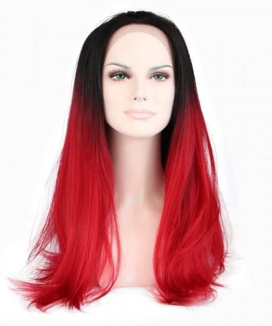 Dolago 1B/Red Ombre Wigs Women Fashion Synthetic Wig Lace Front Wig