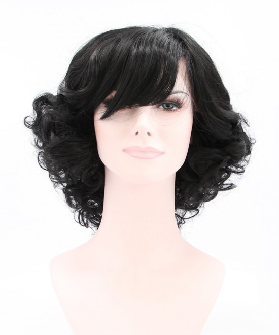 Dolago Black Lace Front Wig Side Part Short Curly Synthetic Wig With Bang