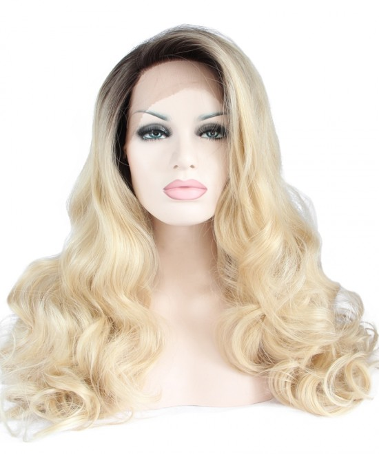 Dolago Ombre Wig Side Part Synthetic Wigs 1B/Blonde Wig Lace Front Wig