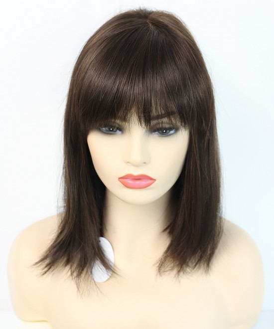 Dolago Mono Top Half Machine Made Wigs With Bangs Dark Brown Straight Synthetic Lace Front Wig