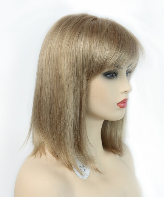 Dolago Mono Top Half Machine Made Wigs With Bangs Blond Straight Synthetic Lace Front Wig