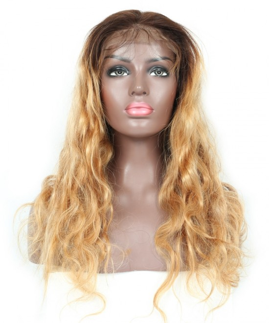 Dolago Honey Blonde Ombre Wavy Lace Front Human Hair Wigs