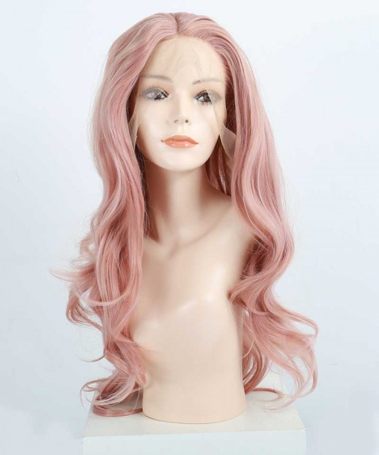 Dolago Synthetic Lace Front Wig Wavy Pink Color