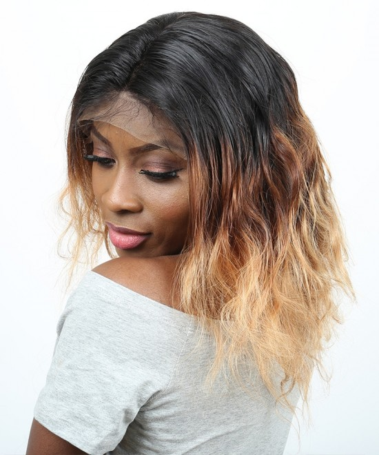 Dolago Body Wave Lace Front Wigs #1B/4/27 Ombre Color 250% Denstiy Brazilian Human Virgin Hair Wigs Pre Plucked With Baby Hair