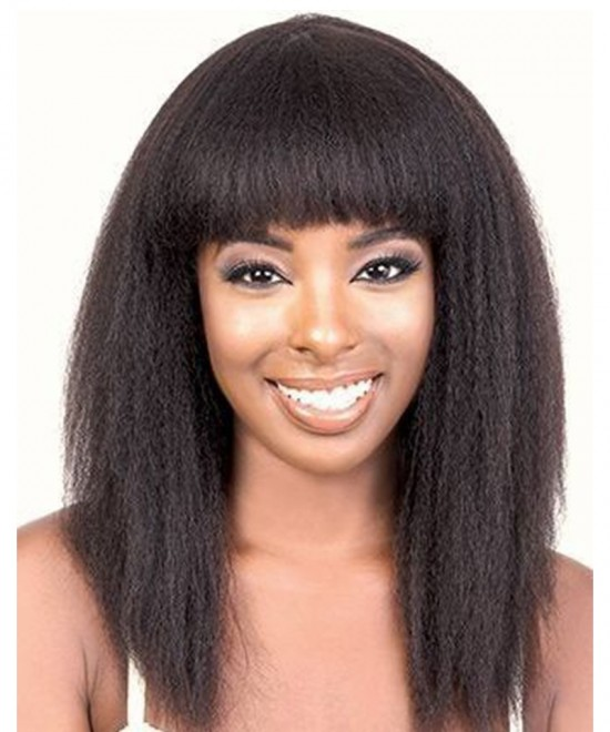 Dolago Hair Wigs Kinky Straight 370 Lace Frontal Wig Pre Plucked With Baby Hair Human Virgin Hair Wigs For Black Women With Bang