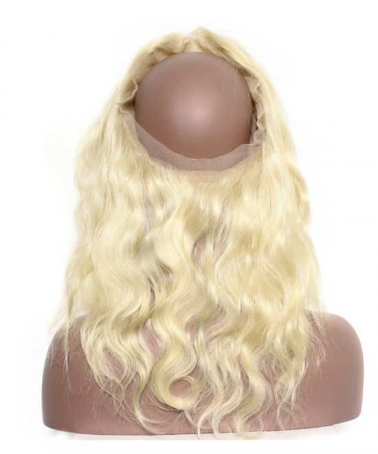Dolago Pre Plucked 360 Lace Frontal Closure With Baby Hair Body Wave 613 Blonde Color