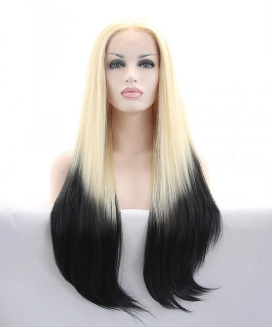 Blonde Root Black Wig Ombre Wig Synthetic Wig