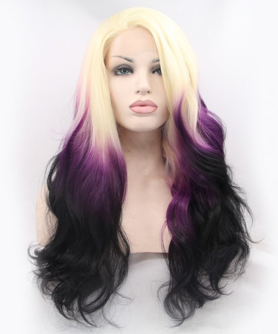 Dolago Blonde Purple Ombre Wig Lace Front Wig Women Fashion Synthetic Wig