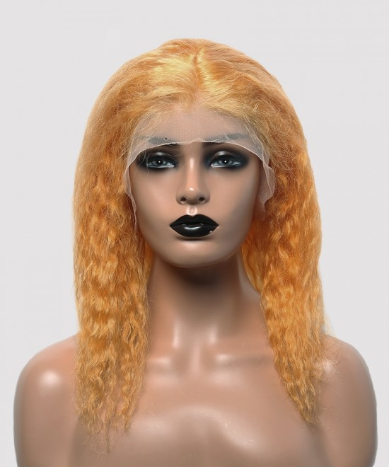 Dolago Colorful Wig Curly Bob Lace Front Wigs Pre-Plucked 130% Density Bright Yellow
