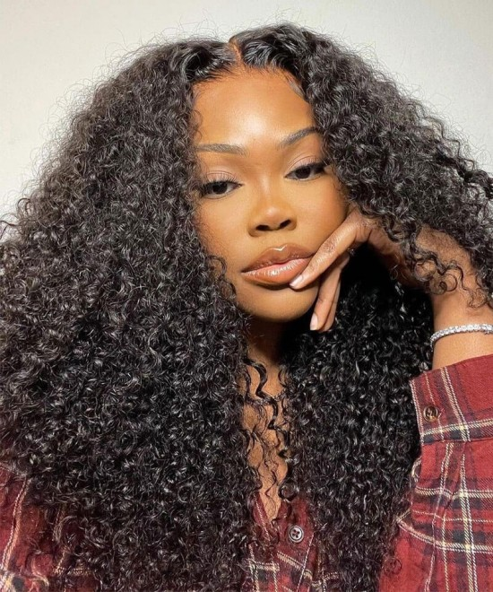 kinky curly transparent lace front human hair wigs for sale